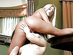 Two blondes and a tabl... from Xhamster