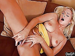 Blonde girlfriend strips