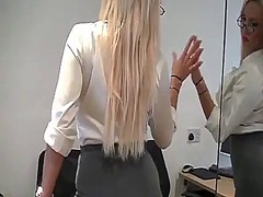 Horny blonde secretary...