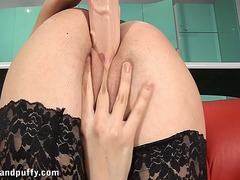 Huge dildo insertion f...
