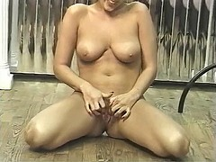 Sexy blonde chick stri...