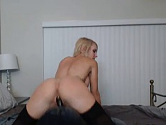 Pretty blonde sucks an...