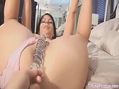 Fucked with a glass dildo from PornerBros