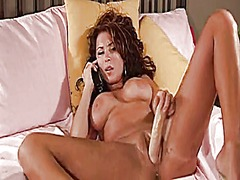 Hot girl plays with dildo from Tube8